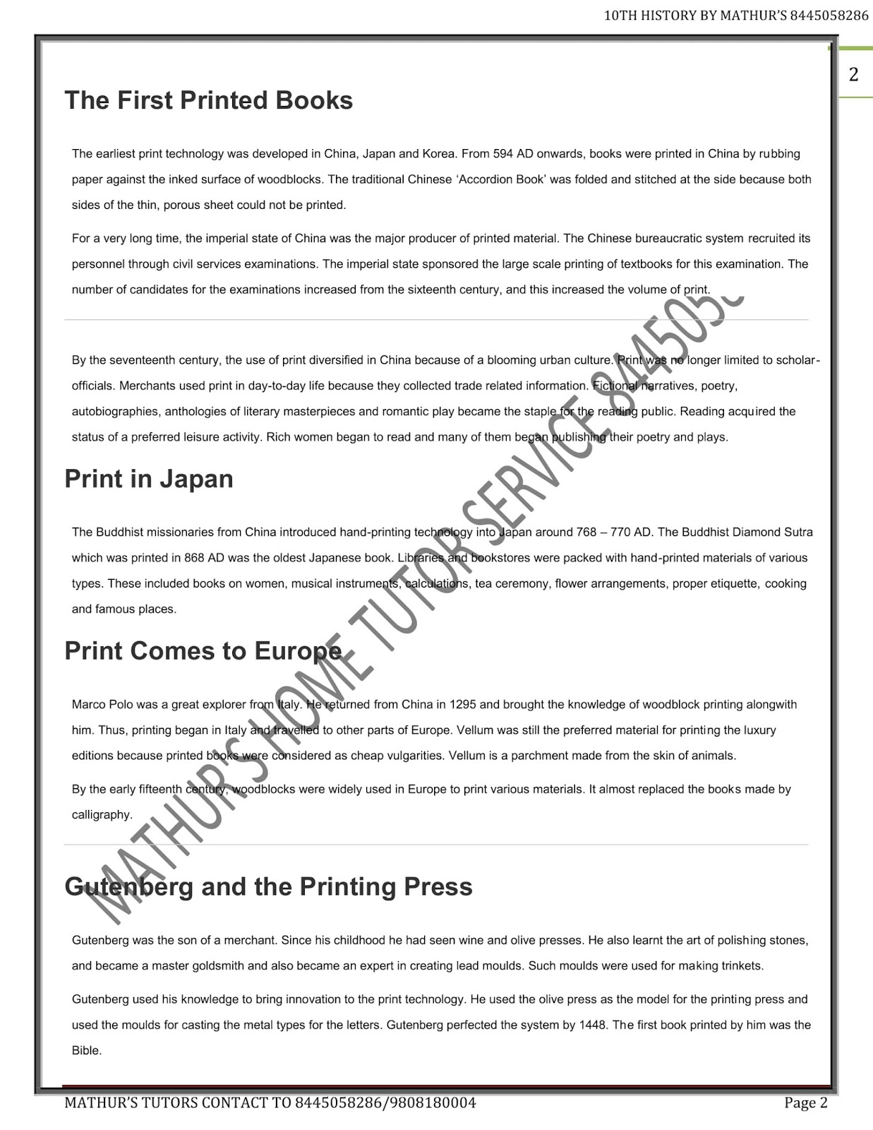 Class 10th History Notes Print Culture & Modern World