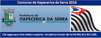 Edital Concurso Prefeitura Itapecerica da Serra - 2016.