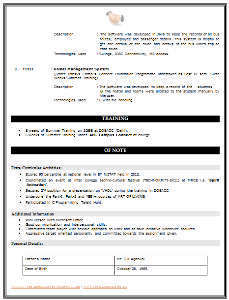 over 10000 cv and resume samples with free download b tech resume
