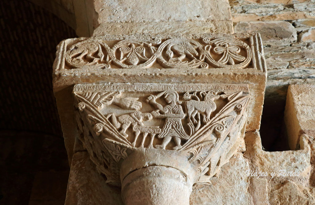 Sacrificio de Isaac, capitel de san Pedro de la Nave