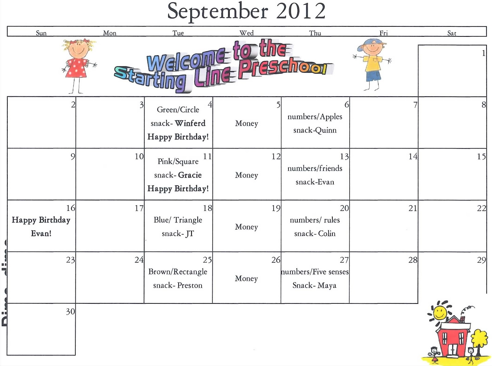 The Starting Line Preschool September Calendar