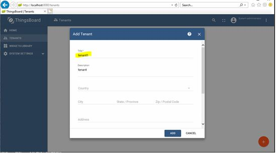 INSTALLATION DOCUMENTS BY RAVI: Creating tenant account in thingsboard