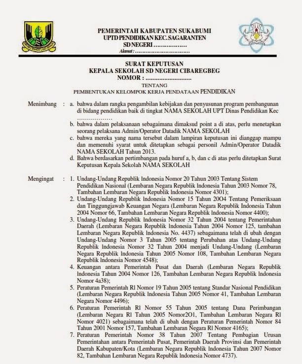 Contoh Sk Surat Tugas Operator Dapodik Terbaru