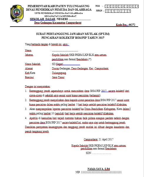 kumpulan buku gratis surat pertanggung jawaban mutlak sptjm
