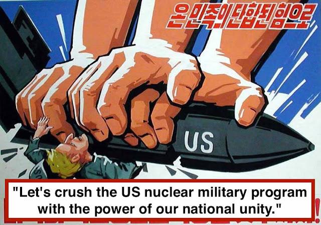 "- ""Let's crush the US nuclear military program with the power of our national unity."" No Korea propaganda. Hobgoblin MarchMatron.com"