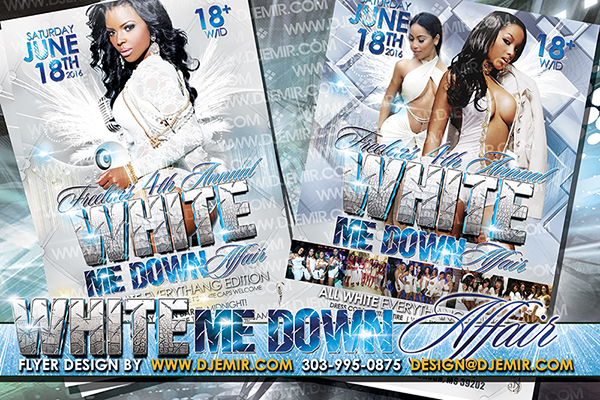 White Me Down Party Flyer Can also be used for Snow White Me Down Flyer design for winter parties