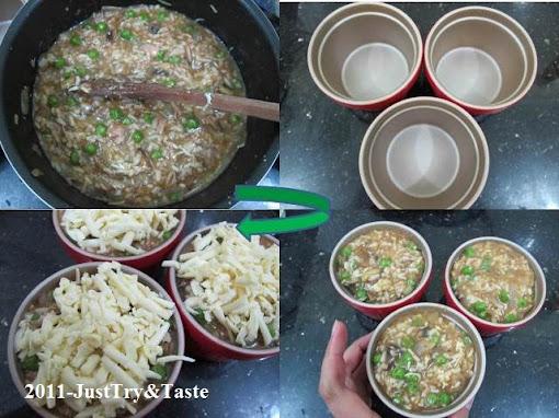 Resep Nasi Panggang Isi Tuna, Kacang Polong, Jamur, dan Keju