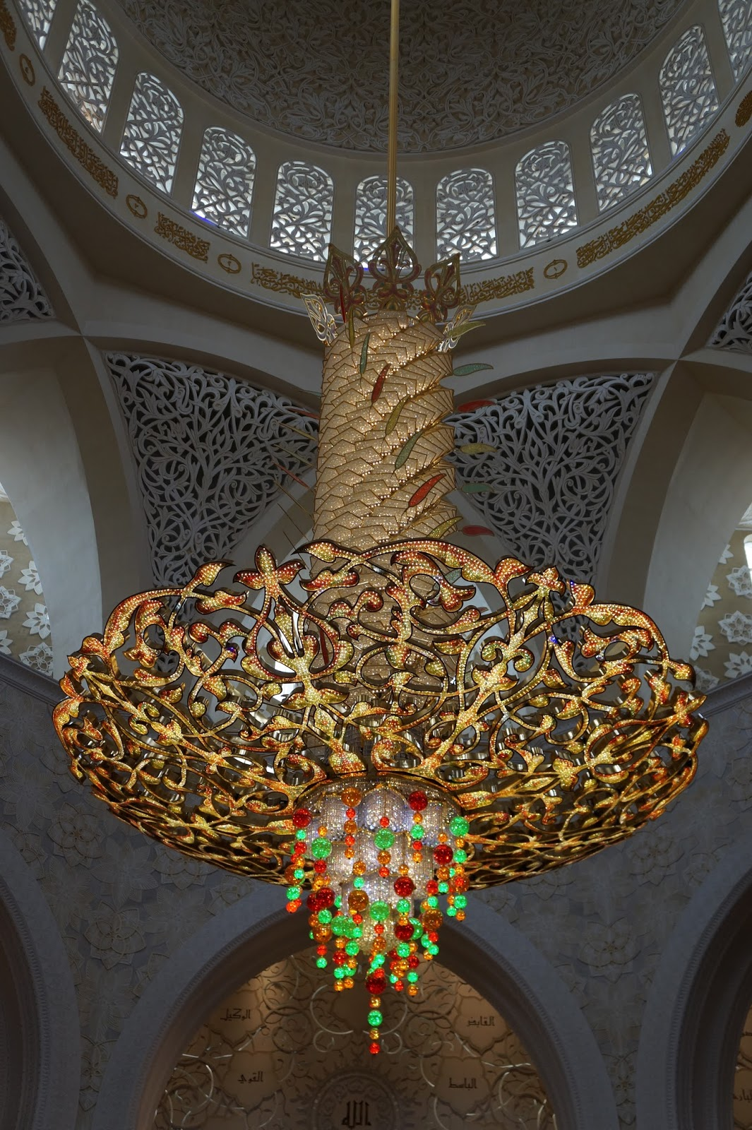 Aliholli march 2016 the largest chandelier is the second largest known chandelier inside a mosque the third largest in the world and has a 10 m 33 ft diameter and a 15 m 49 arubaitofo Image collections