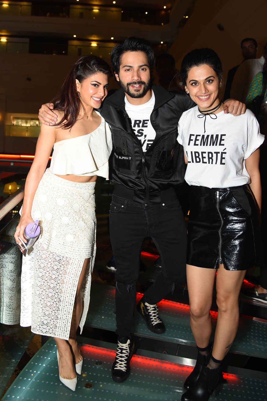 Jacqueline Fernandez and Taapsee Pannu During 'Judwaa 2' Promotion