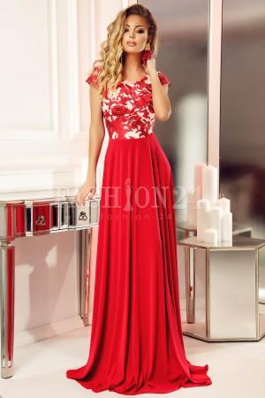 Rochie rosie lunga de seara cu bustul floral eleganta