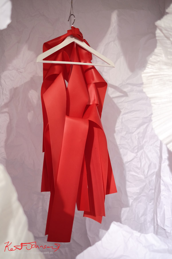 Red dress in paper (plastAlana Flood and April Yap - Red dress, in paper chamber - Fashion Runway Show presented in partnership with UTS Fashion Design Department at SCAF