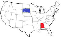 image of outine map of continental united states showing south dakota and alabama in color