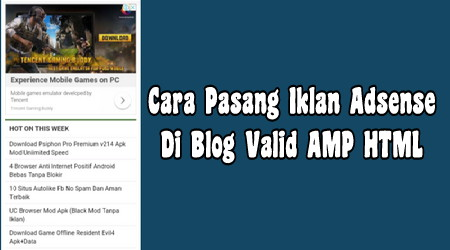 Cara Pasang Iklan Adsense di Sidebar Blog Valid AMP HTML Terbaru