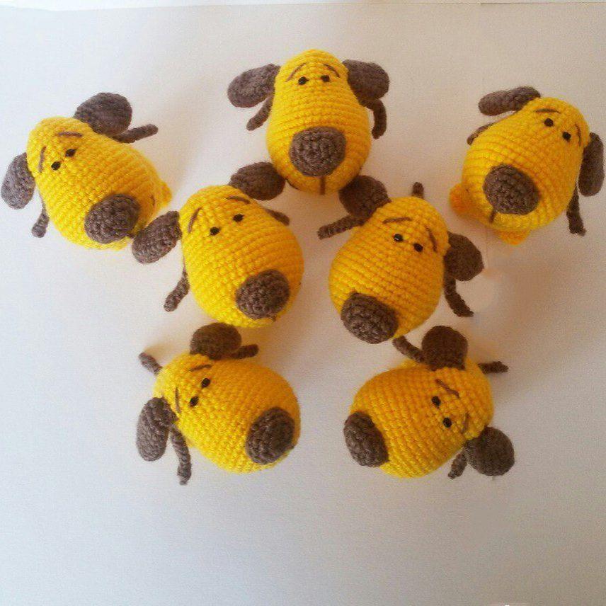 желтая собачка схема амигуруми Hi Amigurumi