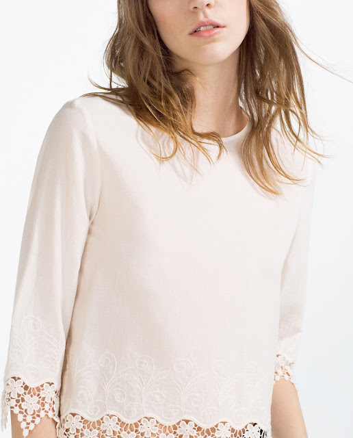 zara embroidered hem top,