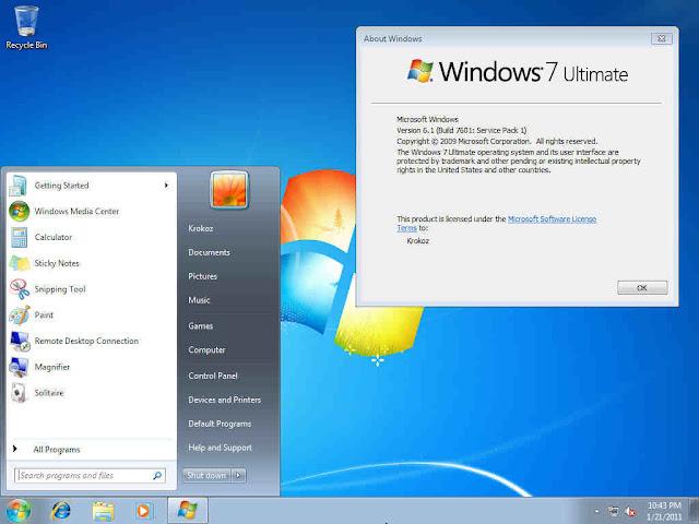 Windows 7 Ultimate SP1 32 Bit / 64 Bit ISO