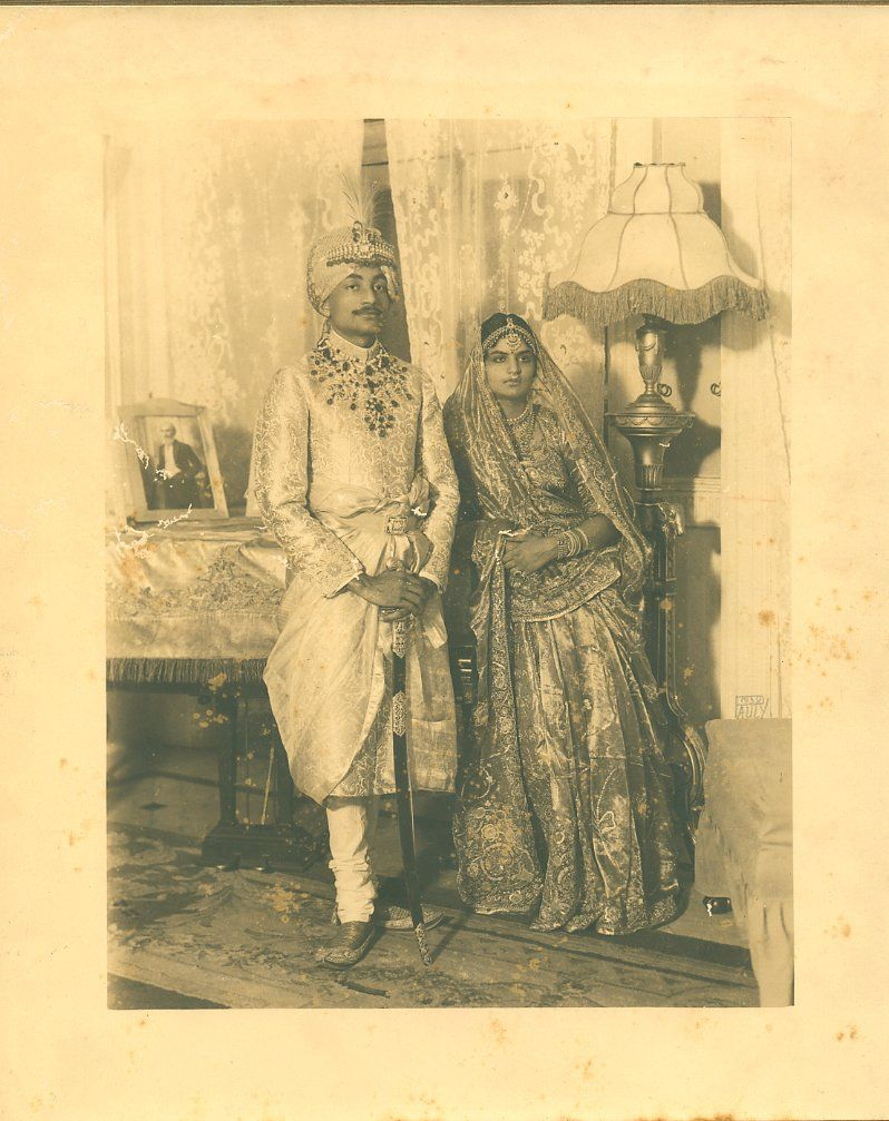 Indian Upper Class Couple Posing for a Studio Portrait - 1920's