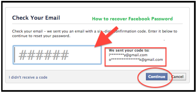 How to reset facebook password using email