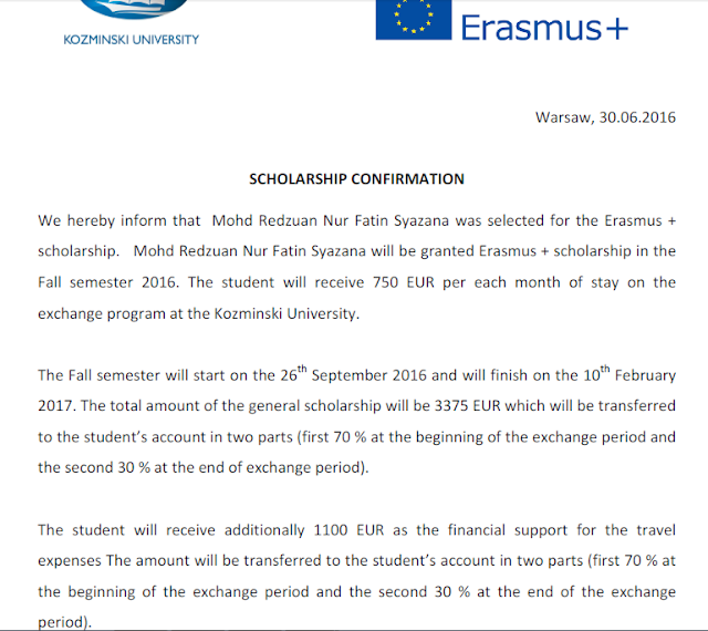 kozminski university, letter, scholarship, erasmus