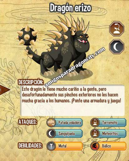 imagen de las caracteristicas del dragon erizo