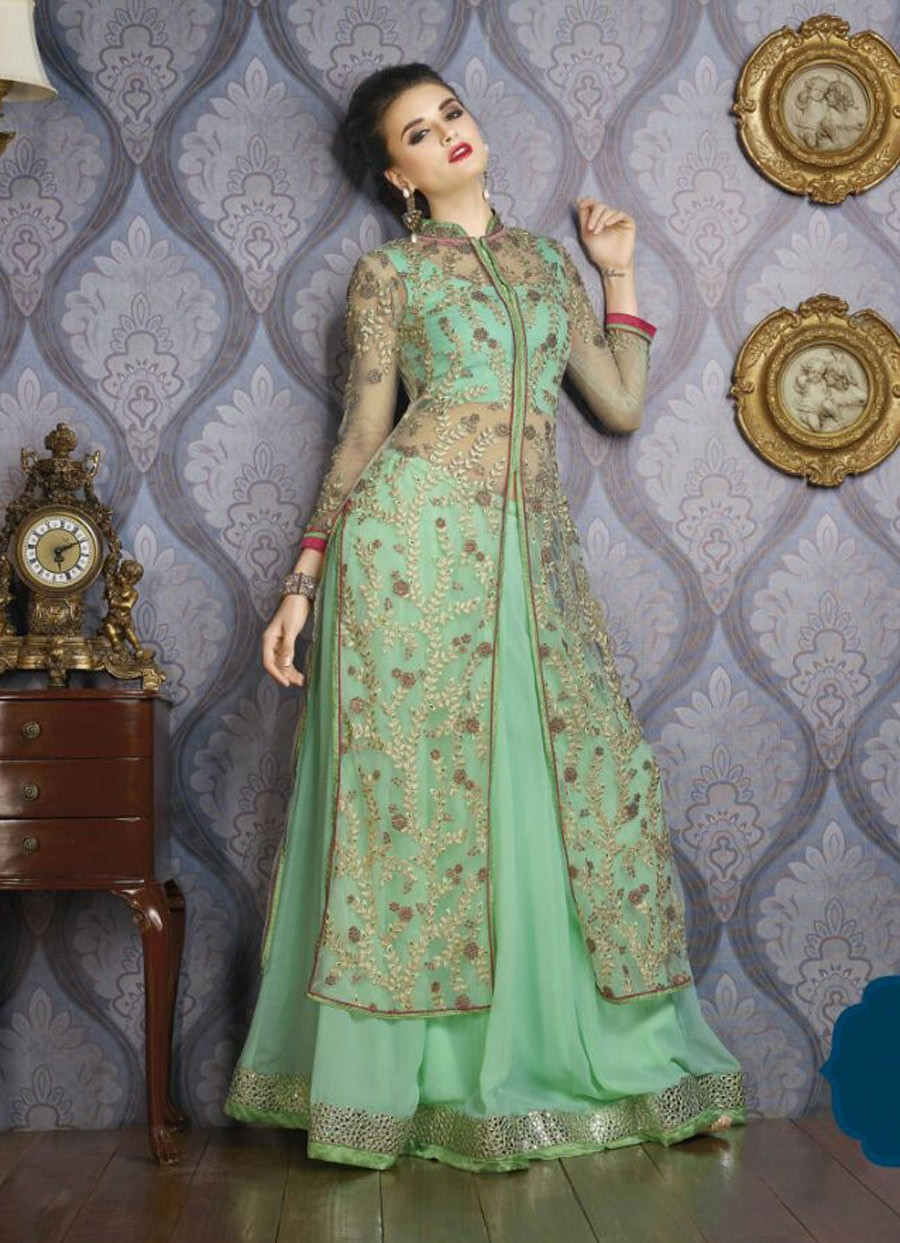 Pakistan Wedding and Party Green Lehenga With Long Jacket