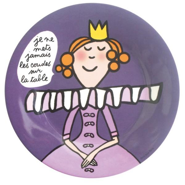 assiette avec illustratrice avec couronne