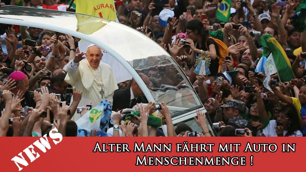 Spassbilder Papst fährt in Auto in Menschenmenge - Satire