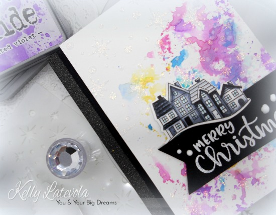 Merry Christmas Card by November Guest Designer Kelly Latelova | Snow Globe Scenes and Sentiments of the Season Stamp Sets by Newton's Nook Designs #newtonsnook