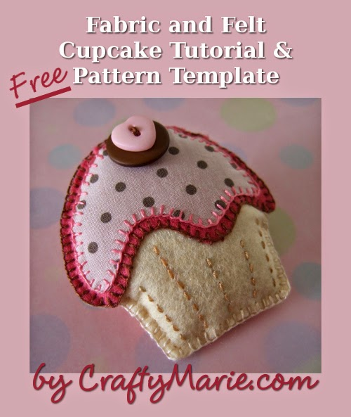Felt hand stitched and sewn cup cake design with pink and brown buttons