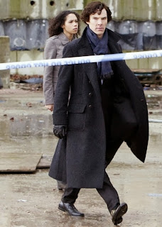 Benedict Cumberbatch and Vinette Robinson as Sherlock Holmes and Sally Donovan in BBC Sherlock Season 1 The Great Game