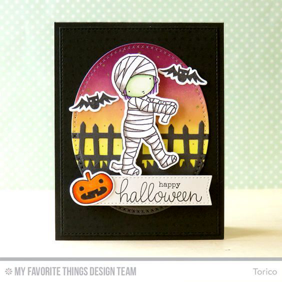 Handmade card from Torico featuring Frightfully Fun Halloween and Pure Innocence Mummy stamp set and Die-namics, Myriad Dot Background stamp, Cross-Stitch Oval STAX and Blueprints 20 Die-namics #mftstamps