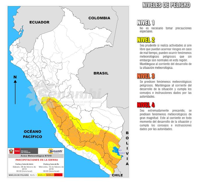 SENAMHI:Se presentarán precipitaciones en la sierra centro y sur del país