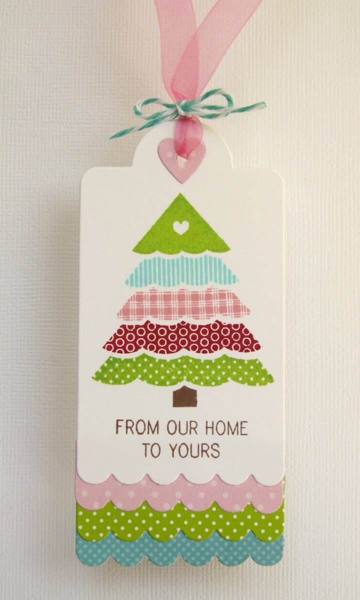 Papertrey Ink From Our Home To Yours Scalloped Gift Tag by Mendi Yoshikawa