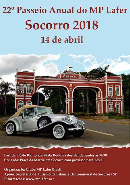 Cartaz promocional do 22º Passeio Anual do Clube MP Lafer Brasil, desenvolvido pela Editora Vivalendo.