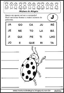 Formar palavras com a letra j