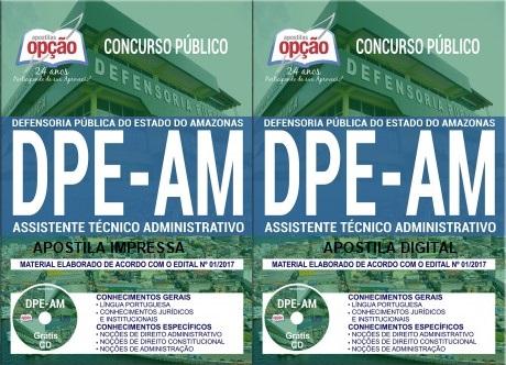 apostila Concurso Defensoria-AM 2017 Assistente Técnico Administrativo.