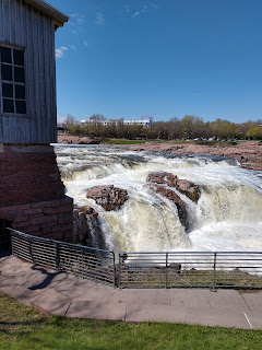 the Queen Bee Mill ruins alongside the Big Sioux River in Falls Park in Sioux Falls, South Dakota