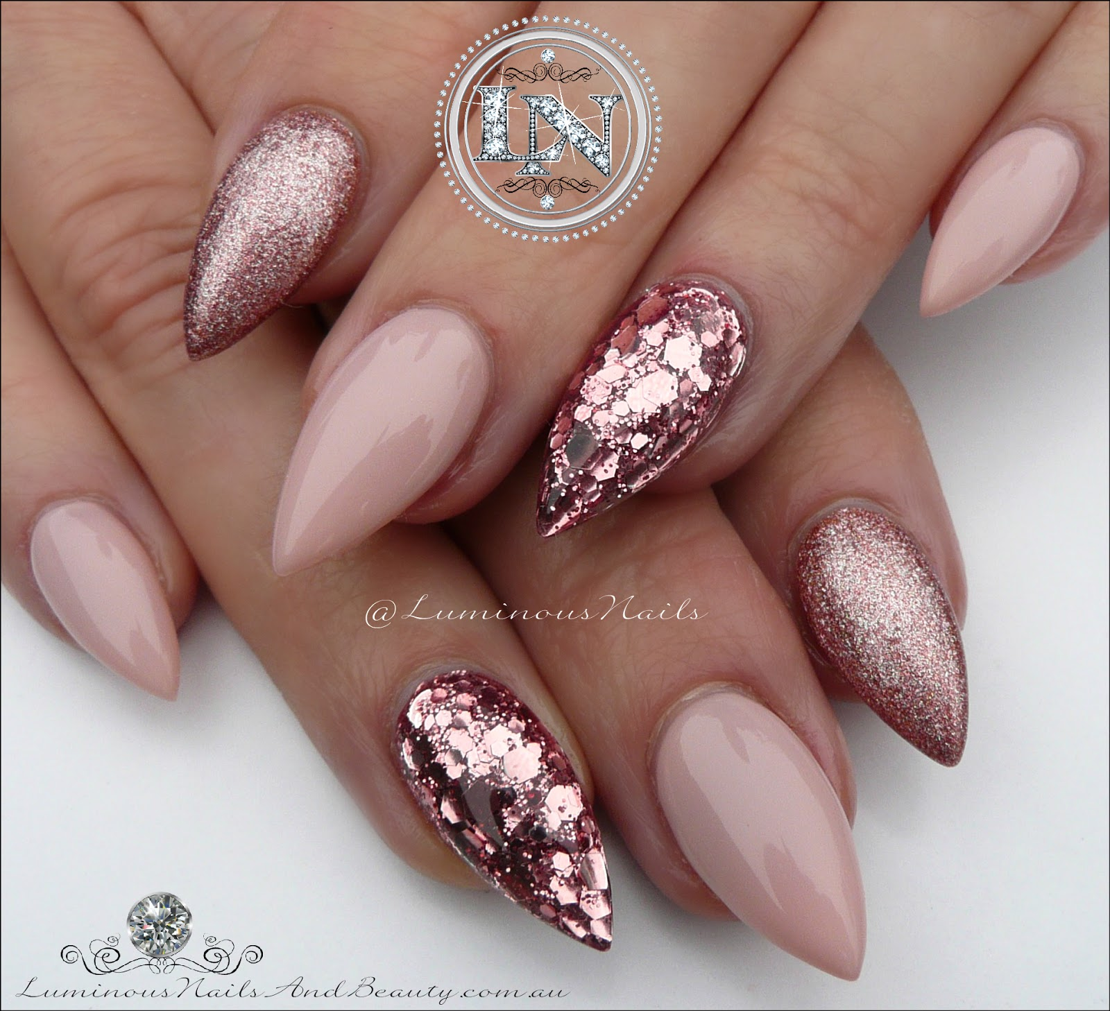 Luminous Nails: Nude Nails. Champagen Pink Glitter Nails.