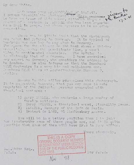February 12, 1941 - KV 2/24 - 25a - S.I.S. report to MI5 re: postcard of Clara Bauerle.