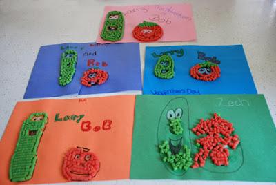 macaroni art Bob Larry Veggie Tales