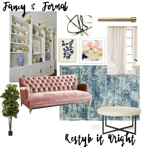 Mood board formal living pink and gold with built in bookcases