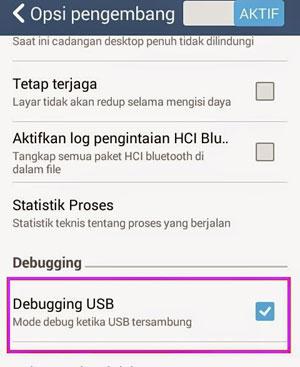 USB Debugging di Zenfone 4