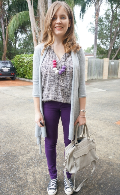 printed button detail tank with purple skinny jeans and grey accessories | AwayFromBlue
