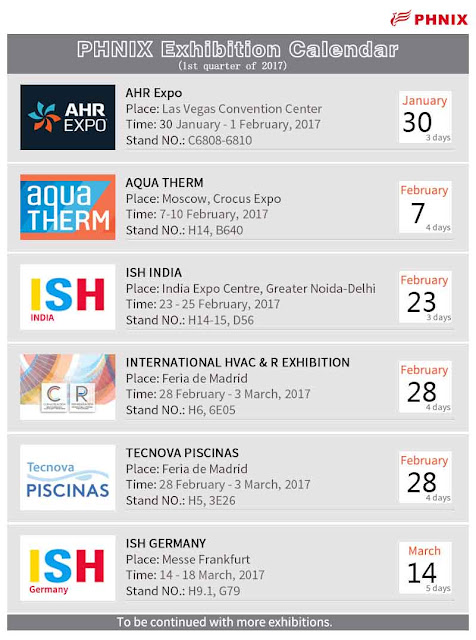 Exhibition Calendar (pool, spa, heat pump, HAVC) 2017 1st Quarter