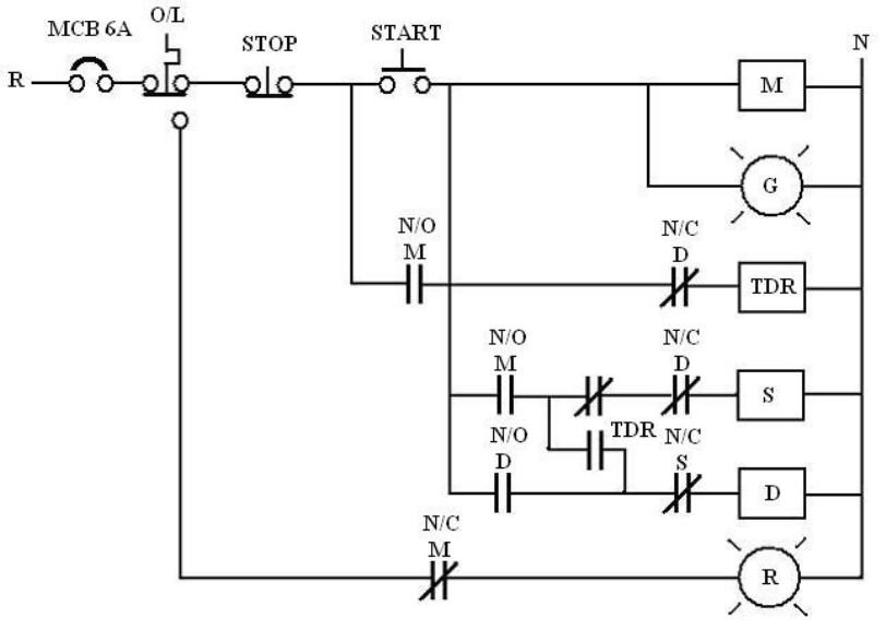 Litar kawalan dan litar utama motor elektrik Star Delta
