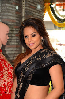 Actress Neetu Chandra Stills in Black Saree at Designer Sandhya Singh's Store Launch  0005.jpg