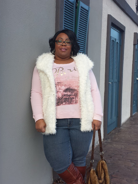 plus size winter outfit;hooded faux fur vest; wide calf knee high boots