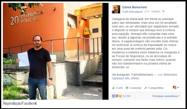 Filho de Bolsonaro foi assaltado em frente ao Maracanã.
