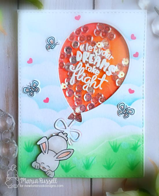 Bunny and Balloon Shaker Card by Maria Russell | Uplifting Wishes Stamp Set and Balloon Shaker Die Set by Newton's Nook Designs #newtonsnook #handmade