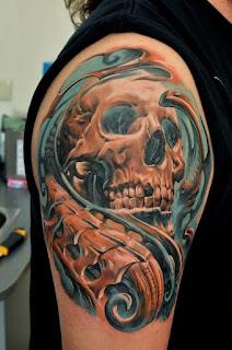 tato tengkorak 3d berwarna